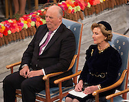 Oslo, 10-12-2016  <br /> <br /> King Harald and Queen Sonja, Crown Prince Haakon and Crown Princess Mette Marit of Norway  attend the Nobel Peace Prize Ceremony at the Cityhall of Oslo with Nobel Peace Prize winner President Juan Manuel Santos of Columbia<br /> <br /> COPYRIGHT ROYALPORTRAITS EUROPE/ BERNARD RUEBSAMEN