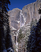 Yosemite Falls, Lower Yosemite Falls, Waterfall, Winter, Ice, Snow, Yosemite Valley, Yosemite National Park, California