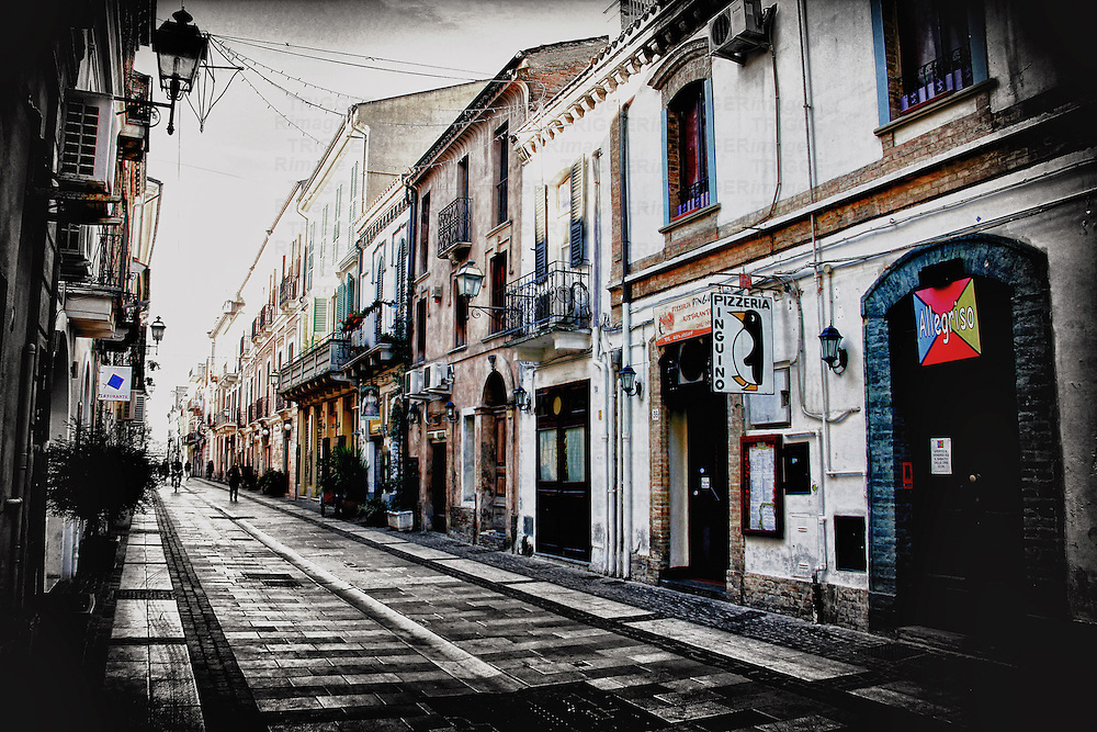 """A view of """"Corso Manthone """" one of the oldest street of Pescara, full of restaurants, stores and museums, Abruzzo, italy"""