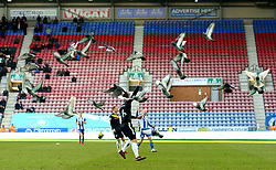 Pigeons fly up from the DW Stadium pitch - Mandatory by-line: Robbie Stephenson/JMP - 24/02/2018 - FOOTBALL - DW Stadium - Wigan, England - Wigan Athletic v Rochdale - Sky Bet League One