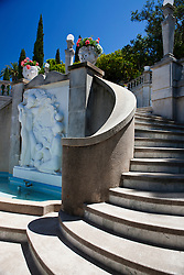 Stairs around a marble fountain, Hearst Castle, California, United States of America