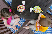 Evan Costik, 6, and his sister Sarah, 8, sit down for dinner at their family's home in Livonia, N.Y. on August 27, 2014.<br /> <br /> Evan has type 1 diabetes, and his father, John, modified a continuous glucose monitor and an Android smartphone to provide constant updates on Evan's blood sugar remotely. CREDIT: Mike Bradley for the Wall Street Journal<br /> MEDIHACK