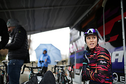 Tiffany Cromwell (AUS) of CANYON//SRAM Racing prepares for the Trofeo Alfredo Binda - a 131,1 km road race, between Taino and Cittiglio on March 18, 2018, in Varese, Italy. (Photo by Balint Hamvas/Velofocus.com)