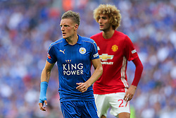 Jamie Vardy of Leicester City looks on - Rogan Thomson/JMP - 07/08/2016 - FOOTBALL - Wembley Stadium - London, England - Leicester City v Manchester United - The FA Community Shield.