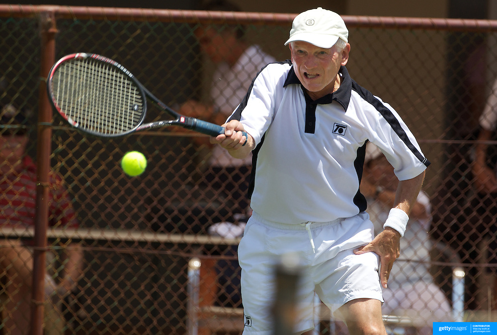 Gerhard Groell, Germany, in action in the 65 Mens Singles during the 2009 ITF Super-Seniors World Team and Individual Championships at Perth, Western Australia, between 2-15th November, 2009.
