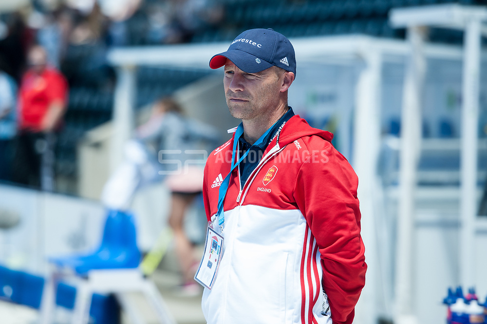 England Coach, Danny Kerry. England v Argentina, Lee Valley Hockey and Tennis Centre, London, England on 10 June 2017. Photo: Simon Parker