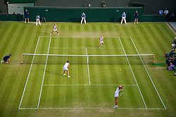 LONDON, ENGLAND - Wednesday, June 24, 2009: Laura Robson (GBR) serves during the Ladies' Doubles 1st Round match on day three of the Wimbledon Lawn Tennis Championships at the All England Lawn Tennis and Croquet Club. (Pic by David Rawcliffe/Propaganda)