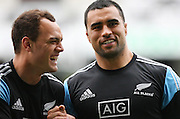 All Black's Israel Dagg, left, and Liam Messam joke about  at the captains run prior to the Rugby Championship, Bledisloe Cup test match between New Zealand and Australia, Forsyth Barr Stadium, Dunedin, New Zealand, Friday, October 18, 2013. Photo: Dianne Manson / photosport.co.nz