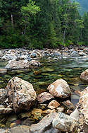 Gold Creek winds through rocks at Golden Ears Provincial Park in Maple Ridge, British Columbia, Canada.