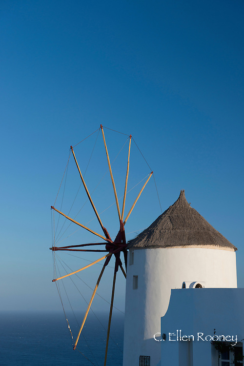 An old windmill in Oia, Santorini, The Cyclades, The Aegean, The Greek Islands, Greece, Europe
