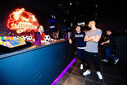 Josh Brownhill and Bailey Wright in action as Bristol City players visit the Belong by GAME gaming arena to play the new FIFA 18 - Rogan/JMP - 27/09/2017 - Merchant Street - Bristol, England.