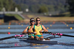 Australian Rowing Olympic Trials, March 2012, Sydney International Rowing Centre - Current Olympic Champions - Scott Brennan and David Crawshay in the mens Double Scull