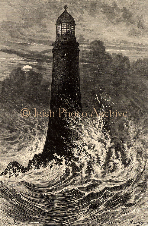 The fourth Eddystone lighthouse built on the Stone 13 miles South-east of Polperro, Cornwall, England.   Built by  the English civil engineer John Smeaton (1724-1792) beginning in 1756 it was in operation for 127 years. Engraving from 'The World of Wonders' (London, 1896).