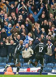 BLACKBURN, ENGLAND - Sunday, November 9, 2008: Chelsea's Nicolas Anelka celebrates scoring the opening goal against Blackburn Rovers during the Premiership match at Ewood Park. (Photo by David Rawcliffe/Propaganda)