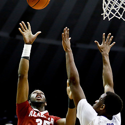 Jan 14, 2017; Baton Rouge, LA, USA; Alabama Crimson Tide forward Donta Hall (35) shoots over LSU Tigers forward Aaron Epps (21) during the first half of a game at the Pete Maravich Assembly Center. Mandatory Credit: Derick E. Hingle-USA TODAY Sports