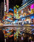 Times Square NYC water reflections