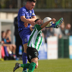 TELFORD COPYRIGHT MIKE SHERIDAN Ross White of Telford clears during the National League North fixture between Blyth Spartans and AFC Telford United at Croft Park on Saturday, September 28, 2019<br /> <br /> Picture credit: Mike Sheridan<br /> <br /> MS201920-023