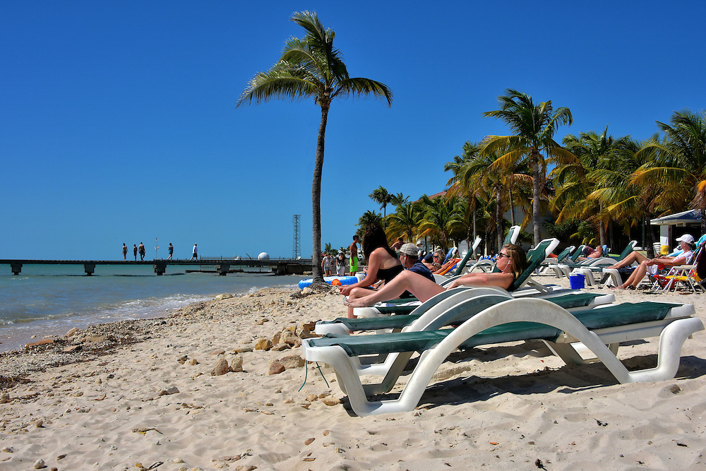 Sunning at Higgs Beach in Key West, Florida<br />