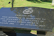 The Royal Green Jackets Memorial at the National Memorial Arboretum, Croxall Road, Alrewas, Burton-On-Trent,  Staffordshire, on 29 October 2018. Picture by Mick Haynes.