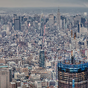 Aerial view of World Trade Center Construction Zone on November 10th 2011 - Midtown Manhattan in background.