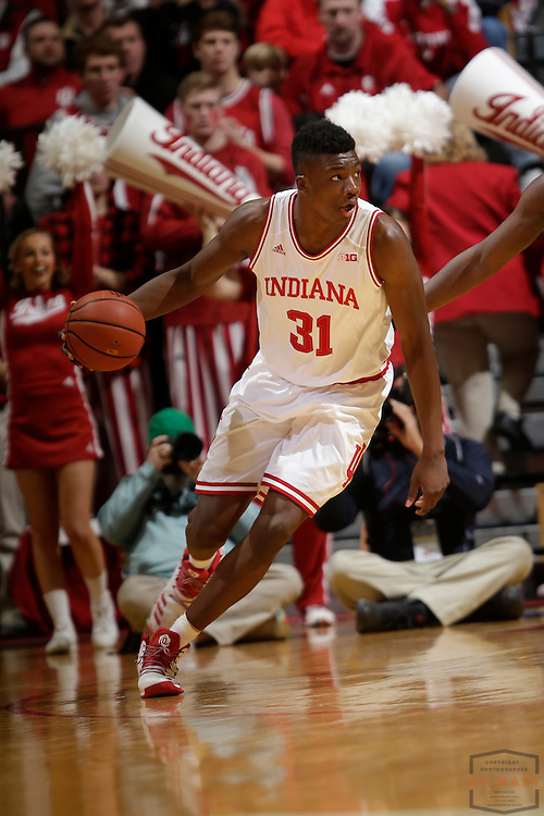 Indiana center Thomas Bryant (31) in action as Purdue played Indiana in an NCCA college basketball game in Bloomington, Ind., Thursday, Feb. 9, 2017. (AJ Mast)