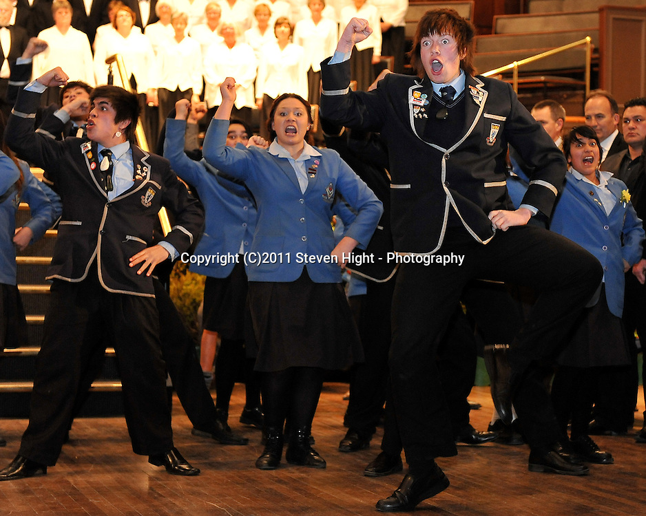 Kings and Queens High School students perform the Kaikaranga (Maori Welcome Call) during the welcome and capping ceremony held for the England Rugby Union team in the Dunedin Town Hall on Tuesday 6th September 2011 ~ Photo : Steven Hight (AURA Images)/Photosport