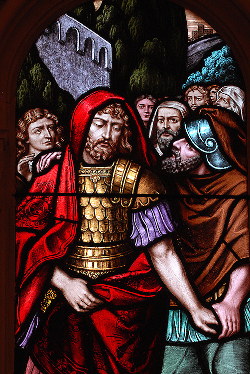 Stained glass image depicts Saul being led by men following his blindness. (Sam Lucero photo)