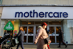 © Licensed to London News Pictures. 04/11/2019. London, UK. Shoppers including a mother with a pram walks past Mothercare branch on Wood Green High Road in north London. <br /> Mothercare - the mother-and-baby retailer and an Early Learning Centre is to appoint administrators for its 79 UK high street stores following lost of £36.3m last year and putting 2,500 jobs at risk. Photo credit: Dinendra Haria/LNP