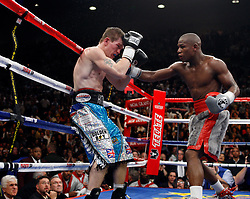 K.M. CANNON/REVIEW-JOURNALFloyd Mayweather of Las Vegas lands a right to Ricky Hatton of Britain in the 10th round of their WBC World Welterweight Championship bout at the MGM Grand Garden Arena Saturday, Dec. 8, 2007. Mayweather went on to knock Hatten out later in the round...