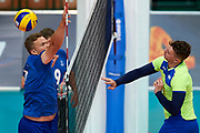 Katowice, Poland - 2017 September 03: (R) Partner Sergei Yampolskiy from SO Russia spikes the ball while final match between SO Russia and SO Finland during European Unified Volleyball Tournament 2017 at Spodek Hall on September 03, 2017 in Katowice, Poland.<br /> <br /> Adam Nurkiewicz declares that he has no rights to the image of people at the photographs of his authorship.<br /> <br /> Picture also available in RAW (NEF) or TIFF format on special request.<br /> <br /> Any editorial, commercial or promotional use requires written permission from the author of image.<br /> <br /> Image can be used in the press when the method of use and the signature does not hurt people on the picture.<br /> <br /> Mandatory credit:<br /> Photo by &copy; Adam Nurkiewicz / Mediasport