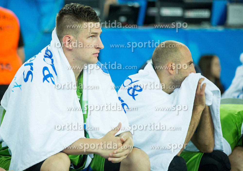 Alen Omic of Slovenia and Nebojsa Joksimovic of Slovenia during basketball match between Croatia and Slovenia at Day 1 in Group C of FIBA Europe Eurobasket 2015, on September 5, 2015, in Arena Zagreb, Croatia. Photo by Vid Ponikvar / Sportida