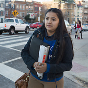 WASHINGTON, DC - DEC 11: Dinia Lovo Marquez, an 18-year-old senior at Bell Multicultural High School in Washington, DC, heads to her after school job as a janitor at the U.S. Department of Education, December 11, 2013. An immigrant from El Salvador, she one of 7 children being raised by her mother Maria, a cook at the Willard Hotel. Dinia wants to be the first in her family to attend college. (Photo by Evelyn Hockstein/For The Washington Post)