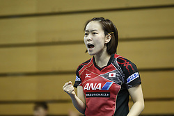 February 23, 2018 - London, England, United Kingdom - Kasumi ISHIKAWA of Japan during ITTF Team World Cup match between Kasumi ISHIKAWA of Japan and Tianwei FENG of Singapore, Quarter Finals Women singles match on February 23, 2018 in Copper Box Arena, Olympic Park, London. (Credit Image: © Dominika Zarzycka/NurPhoto via ZUMA Press)