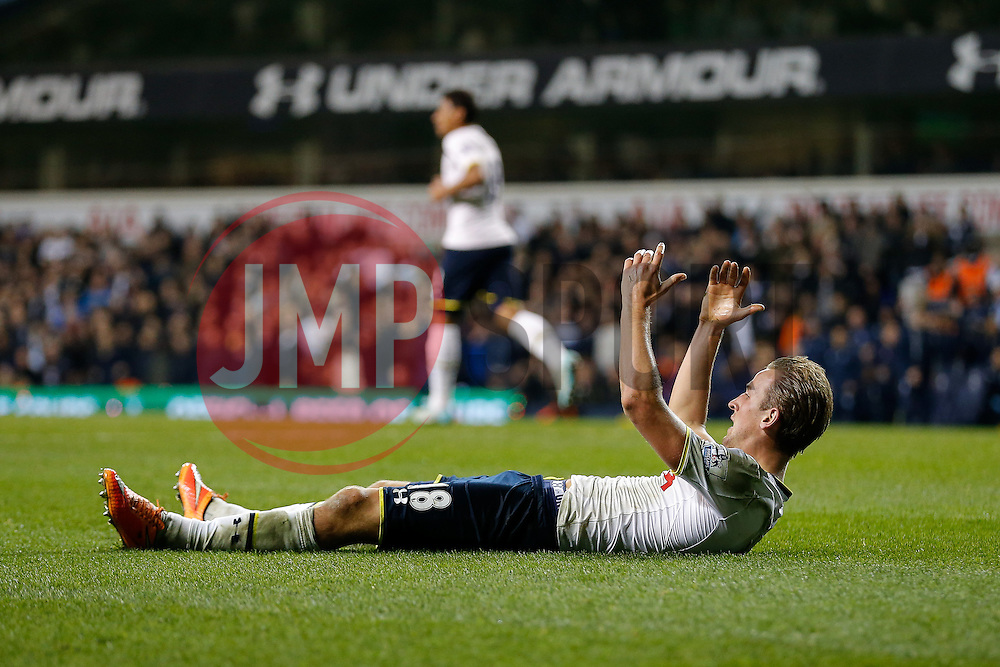 Harry Kane of Tottenham Hotspur looks frustrated after failing to win a penalty - Photo mandatory by-line: Rogan Thomson/JMP - 07966 386802 - 30/11/2014 - SPORT - FOOTBALL - London, England - White Hart Lane - Tottenham Hotspur v Everton - Barclays Premier League.