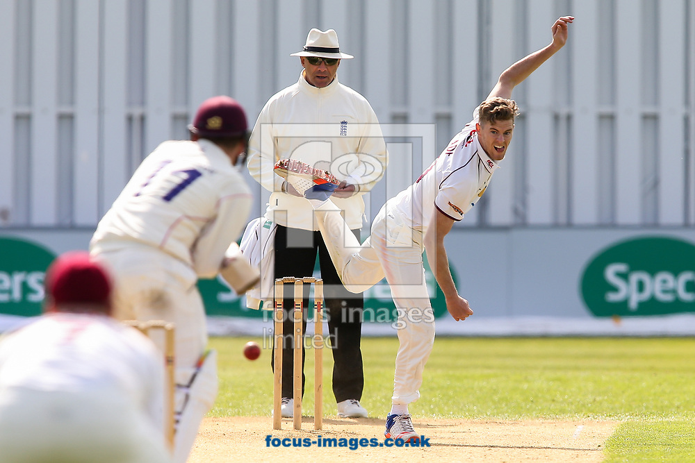 Gareth Wade of Northamptonshire CCC (right) in delivery stride during day two of the Friendly match at the County Ground, Northampton<br /> Picture by Andy Kearns/Focus Images Ltd 0781 864 4264<br /> 03/04/2017