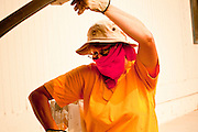 "04 JUNE 2011 - EAGAR, AZ: Mary Elliott (CQ) wore a bandana because of smoke from the Wallow Fire while she cleaned up the land around Life in Christ Fellowship Church in Eagar Saturday. The fire grew to more than 140,000 acres early Saturday with zero containment. A ""Type I"" incident command team has taken command of the fire.  PHOTO BY JACK KURTZ"