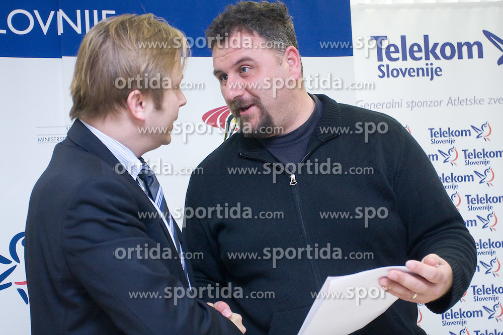 Peter Kukovica and Vladimir Kevo when Slovenian athletes and their coaches sign contracts with Athletic federation of Slovenia for year 2009,  in AZS, Ljubljana, Slovenia, on March 2, 2009. (Photo by Vid Ponikvar / Sportida)
