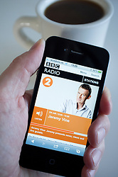 Listening to streaming BBC  Radio 2 on an iPhone 4G smart phone