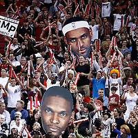 21 January 2012: Fans waive big head signs during the Miami Heat 113-92 victory over the Philadelphia Sixers at the AmericanAirlines Arena, Miami, Florida, USA.