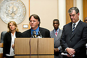 Dr. David Lakey, Commissioner of the Texas Department of State Health Services, speaks during a press conference updating the community about the Ebola patient Thomas E. Duncan in Dallas, Texas on October 6, 2014. (Cooper Neill for The Texas Tribune)