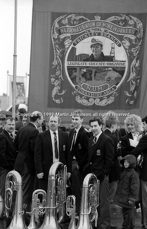 Frickley Branch banner. 1991 Yorkshire Miners Gala. Doncaster.