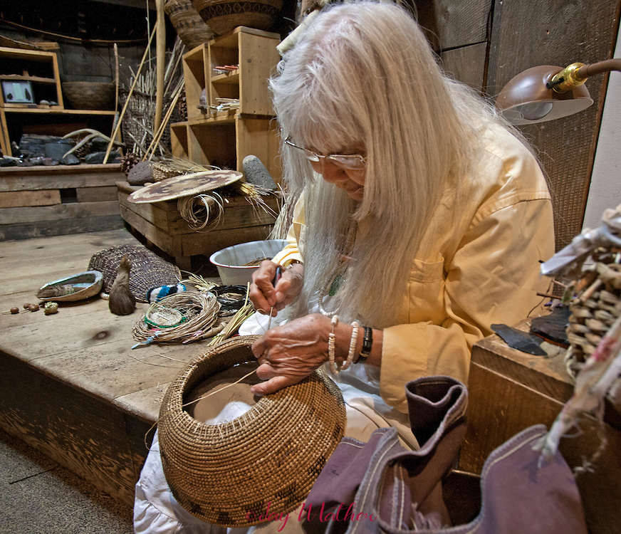 Julia Parker, 83, continues her basket weaving artistry in the Yosemite Museum.  She is preparing for a major show of several important basket makers at the museum.