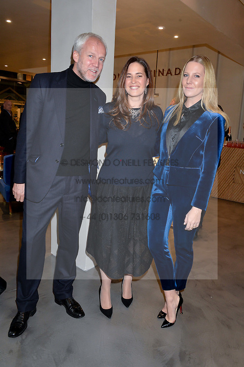 Left to right, JUSTIN ROSSI, jeweller MONICA VINADER and ALICE NAYLOR-LEYLAND at a party to celebrate the launch of the Monica Vinader London Flagship store at 71-72 Duke of York Square, London SW3 on 4th December 2014.
