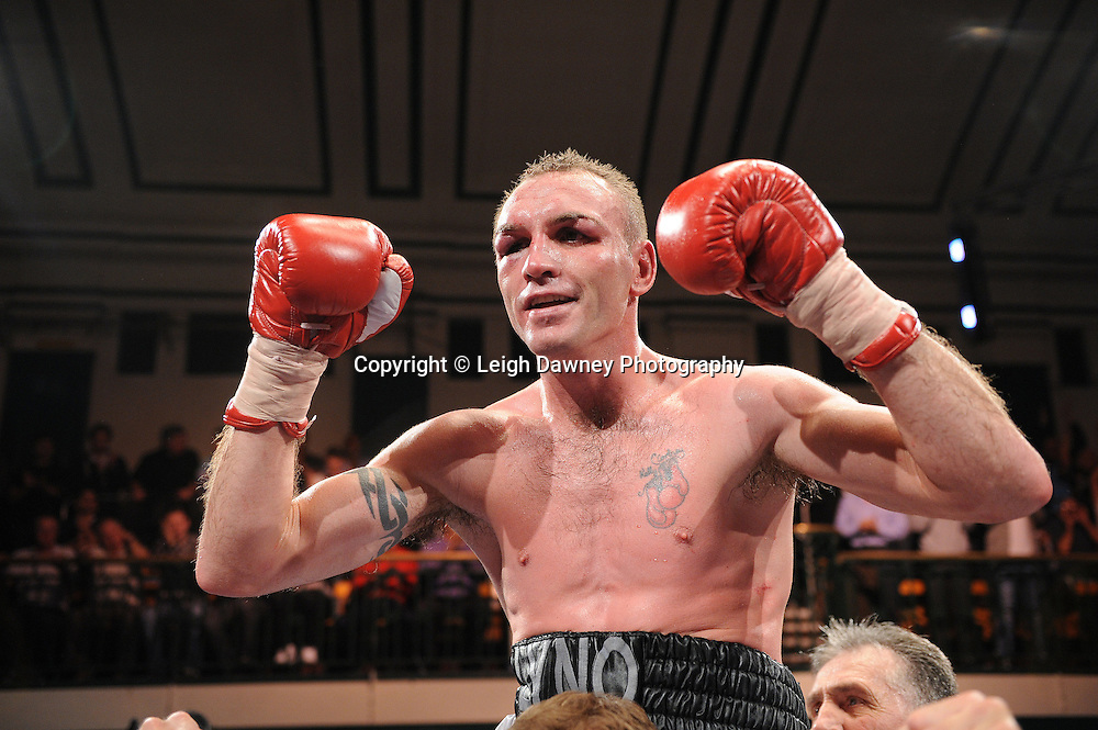 Colin Lynes celebrates his defeat over Lee Purdy claiming the British Welterweight Title at York Hall 09.11.11. Matchroom Sport. Photo credit: © Leigh Dawney 2011.