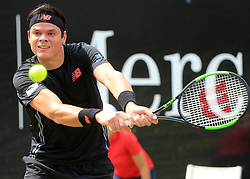 STUTTGART, June 17, 2018  Milos Raonic of Canada returns a shot during the singles semifinal of ATP Mercedes Cup tennis tournament against Lucas Pouille of France in Stuttgart, Germany on June 16, 2018. Milos Raonic won 2-0. (Credit Image: © Philippe Ruiz/Xinhua via ZUMA Wire)