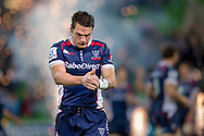 Mitch Inman (Rebels) takes the field with fireworks behind him during the Round 14 match of the 2013 Super Rugby Championship between RaboDirect Rebels vs DHL Stormers at AAMI Park, Melbourne, Victoria, Australia. 17/05/0213. Photo By Lucas Wroe
