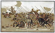 Alexander The Great (356-323BC) The Battle of Alexander, depicting defeat by Alexander of the forces of Persian king Darius III at Issus in Cilicia 333 BC. After mosaic discovered at Pompeii based on picture by Alexandrian artist