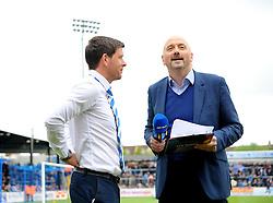 Bristol Rovers Manager, Darrell Clarke is interviewed by Bt Sports presenter Mark Clemmit- Photo mandatory by-line: Nizaam Jones /JMP - Mobile: 07966 386802 - 03/05/2015 - SPORT - Football - Bristol - Memorial Stadium - Bristol Rovers v Forest Green Rovers - Vanarama Football Conference.