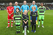 mascots with officials and captains during the EFL Sky Bet League 2 match between Forest Green Rovers and Crawley Town at the New Lawn, Forest Green, United Kingdom on 22 September 2018.
