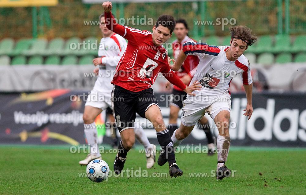 Alen Jogan of Interblock vs Damjan Trifkovic of Rudar at football match of Round 17 of Slovenian first league between NK Interblock and NK Rudar Velenje,  on November 7, 2009, in ZAK, Ljubljana, Slovenia.  Interblock won 3:1. (Photo by Vid Ponikvar / Sportida)